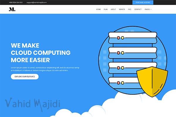 دانلود قالب Html تک صفحه ای برای وب سایت هاستینگ (Blue Hosting)